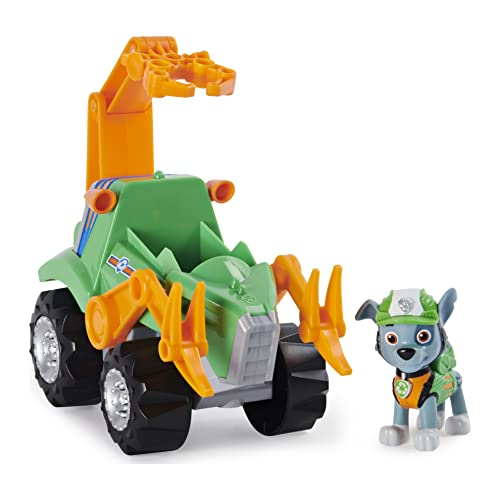Paw Patrol, Dino Rescue Rocky?s Deluxe Rev Up Vehicle with Mystery Dinosaur Figure