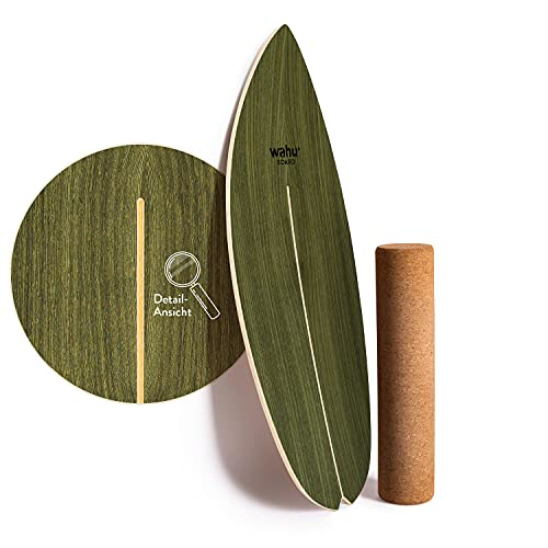 WAHU Board (Palm Green) - Balance Board mit einzigartigem Rocker Shape inkl. Rolle - Surf Balance Board (100% Holz) - Balance Board Indoor und Outdoor - 100% Spaß garantiert