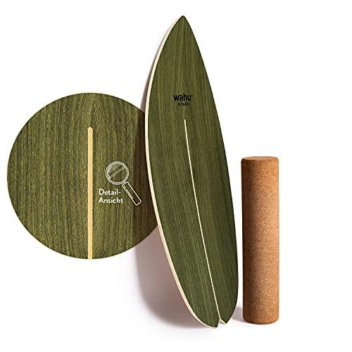 WAHU Board (Palm Green) - Balance Board mit einzigartigem Rocker Shape inkl. Rolle - Surf Balance Board (100% Holz) | Balance Board Holz | 100% Spaß garantiert