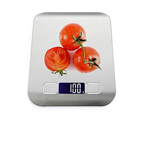 IDE Play Numérique Balance de Cuisine, 5 kg / 1G électronique de Cuisine Balance de Cuisine avec écran LCD rétro-éclairé, Mode et tarer caractéristiques (2 Piles AAA),Argent