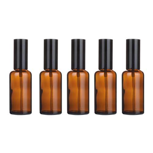 Yardwe Flacon Pulvérisateur en Verre Pack de 5 Flacons Vides en Verre Ambré Flacons de Sous-Emballage Liquide pour Huiles Essentielles Parfum Produits de Nettoyage Aromathérapie (Spray 50 Ml)