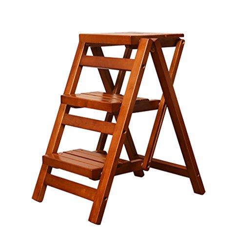 PENGFEI Pliable Stool Ladder Multifonction Usage Double Toutes Les Bois Massif Couleur De Miel, 42.5 * 55.5 * 60CM