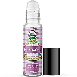Essential Oil for Headache (USDA Organic - 100% Pure) Pre-Diluted Blend of Essential Oils Recommended by Aromatherapists for Aromatherapy - 10ml