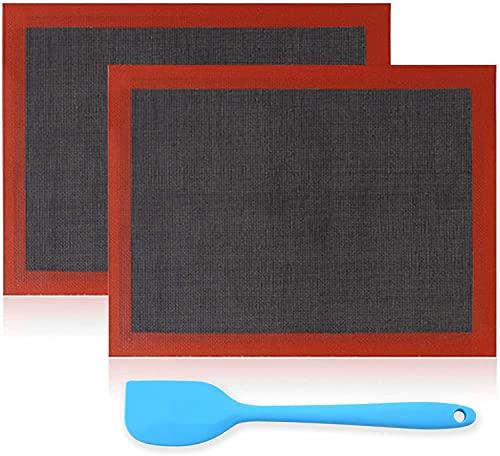 OJVDS 2 PC Tappetino Microforato da Forno Antiscivolo Teglia da Forno per Macarons in Silicone Fibra di Vetro e Silicone, Robusto, Ecologico, Riutilizzato, per Forno, Microonde(Nero,40 * 30cm )