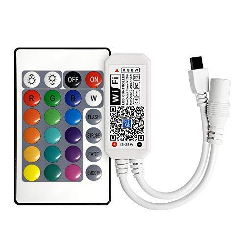 Mini RGBWW/RGBCW Led Streifen Kontroller mit Alexa,Wifi/App gesteuert,Fernbedienung Steuerung Controller included CR2032 battery,16 Millionen Farben,20 Dynamische Modi