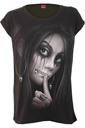 Spiral - Womens - Zipped - Turnup Sleeve Loosefit Tee - S Black
