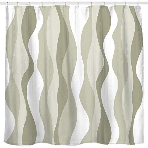 Sunlit Greenish-Brown Vertikale Wellenstreifen Stoff Duschvorhang Wasserabweisend Gedruckt Badezimmer Vorhang...