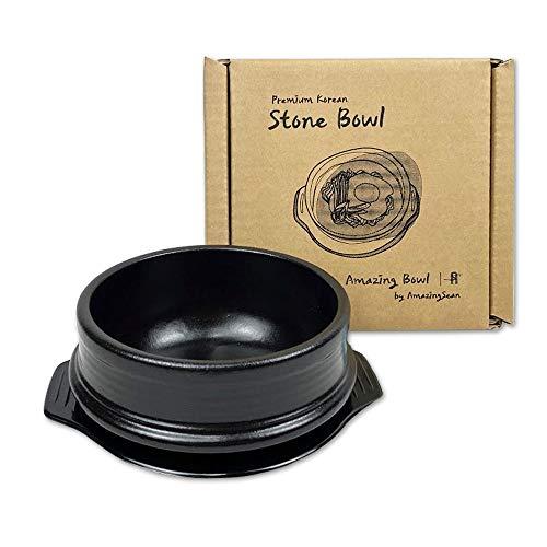 Amazing Bowl - Korean DOLSOT Stone Bowl with Trivet, Premium Ceramic, Stone Pot Hot Pot for Bibimbap Soup Jjiage Korean Food (Medium (5.8'))