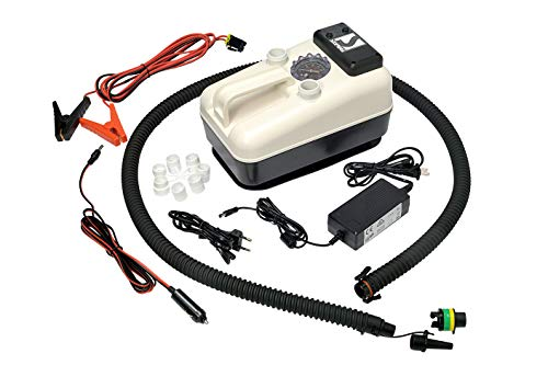 Bravo SUP Electric Air Pump, max 21 psi, A Premium 12 v Inflatable inflator, Ideal for Inflating Boats, Kayaks, Paddle Boards, dinghy's, rafts, Kite-Surfer's, Pool or Camping Accessories