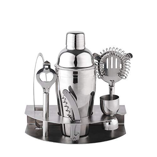 Zavddy Coctelera para Cócteles Cocktail Shaker Set, la Barra de Herramientas del Kit del Camarero de 7 Piezas con Accesorios de la Barra Soporte Conjunto de Barra (Color : Silver, Size : M)