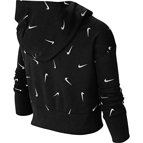NIKE G NSW AOP Crop FT Hoodie Hooded Long Sleeve Top, Niñas, Black/White/lt Smoke Grey, M