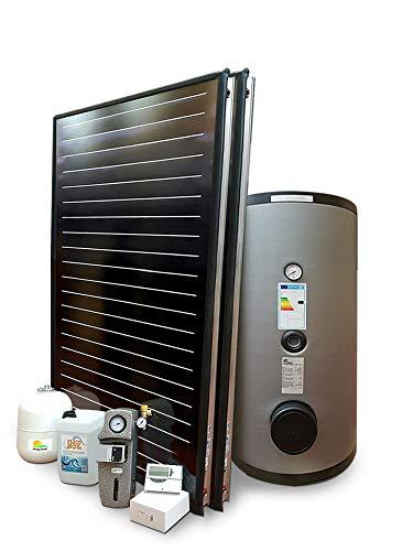 Kit de sistema solar térmico de alto rendimiento para la producción de agua caliente sanitaria, 2 – 4 personas, hervidor de 300 litros, FKF200 (1, sistema con hervidor de doble aserpentina)