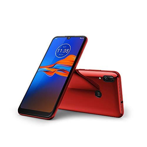 "Motorola Moto E6 Plus (32GB, 2GB RAM) 6.1"" Max Vision Screen, 3000mAh Removable Battery, Hotspot, FM Radio, US + Global 4G LTE Dual SIM GSM Factory Unlocked XT2025-1 - International Model (Cherry)"