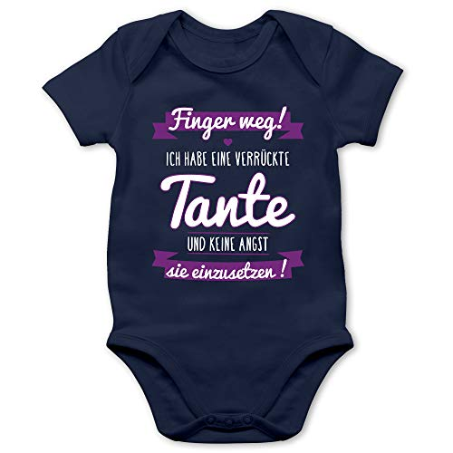 Shirtracer Sprüche Baby - Ich Habe eine verrückte Tante Lila - 1/3 Monate - Navy Blau - Finger Weg ich Habe eine verrückte Tante - BZ10 - Baby Body Kurzarm für Jungen und Mädchen
