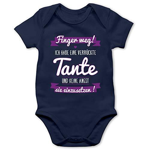 Shirtracer Sprüche Baby - Ich Habe eine verrückte Tante Lila - 1/3 Monate - Navy Blau - taufgeschenke für mädchen - BZ10 - Baby Body Kurzarm für Jungen und Mädchen