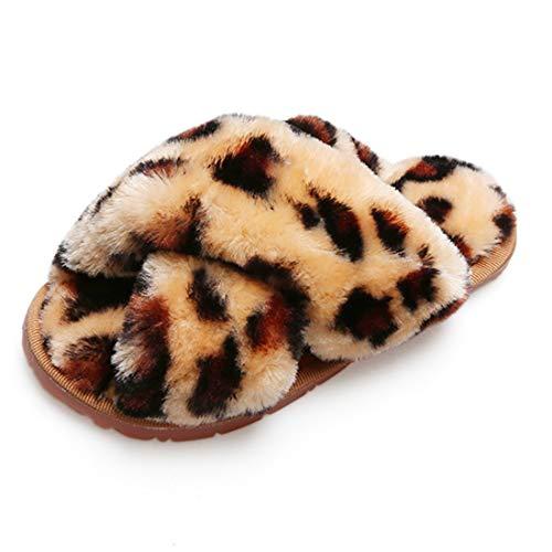 Hitopteu Pantofole Donna Peluche Casa Scarpe Bambini Invernali Slippers Ciabatte Aperta Pantofole Pelose Fluffy Infradito Marrone Leopardo EU 37/38 per la Dimensione dell'Etichetta 38/39