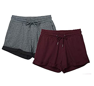 icyzone Workout Lounge Shorts for Women - Athletic Running Jogging Cotton Sweat Shorts (S, Charcoal/Wine)