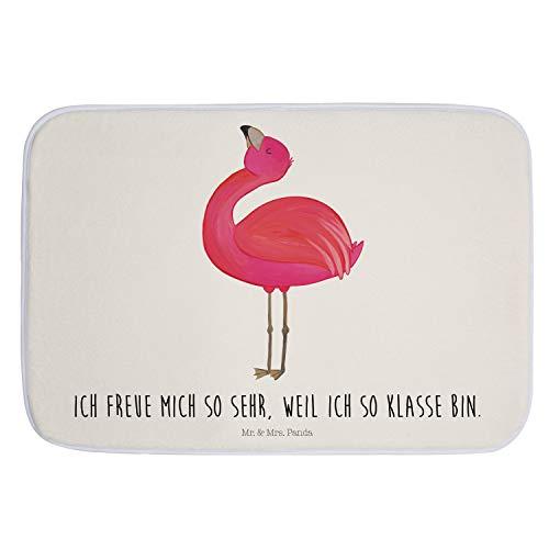 Mr. & Mrs. Panda Badematte, rutschfest, Badvorleger Flamingo stolz mit Spruch - Farbe Weiß