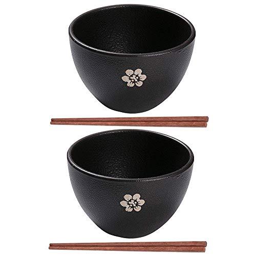 Bowl Porcelain Japanese Vintage Noodle Bowl 2 Sets,2L Large Capacity Porcelain Deep Interior Bowl With 2 Pairs Of Wood Chopsticks