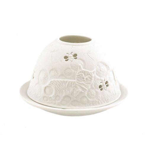 Porzellan-Teelicht-Windlicht, Starlight Nr.480, Katze mit Biene (unterbrochen), Lithophanie weiß