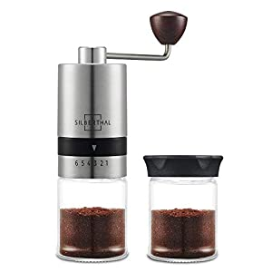 SILBERTHAL Molinillo de café manual | Moledora cafe manual regulable | 6 niveles de molido | Coffee grinder Acero inoxidable y vidrio