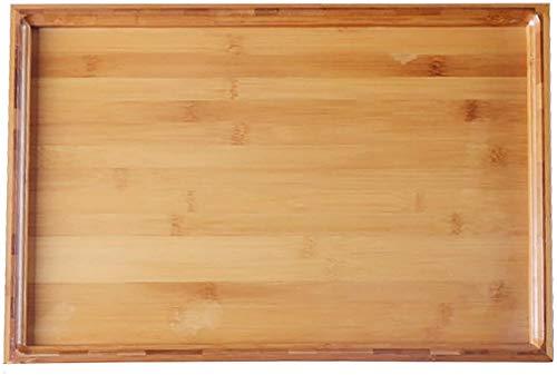 ZGYZ Bandeja Rectangular de Madera de bambú para Servir,Platos Impermeables para Servir cenas,Bandeja para Servir vajilla Grande,Bandeja para Desayuno para Comida-A 40x30x2.8cm