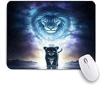 Mabby マウスパッド,lion and cat,ラップトップコンピュータPCオフィス用の滑り止めラバーベースマウスパッド,Cute Design Desk Accessories