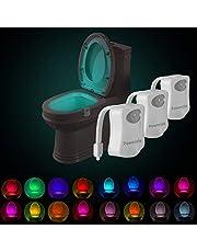 Powerole Luz nocturna de inodoro PIR con sensor de movimiento activado por movimiento, luz de baño LED, luz nocturna de inodoro interior que cambia de color 16, funciona con batería