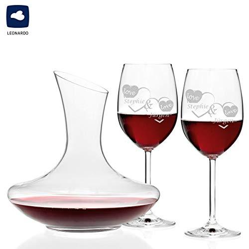 polar-effekt 3er Set Leonardo Weingläser und Weindekanter Personalisiert mit Gravur - Rotweingläser Geschenkidee zur Valentinstag für Paare zur Hochzeit - Motiv - Liebe mit Herzen