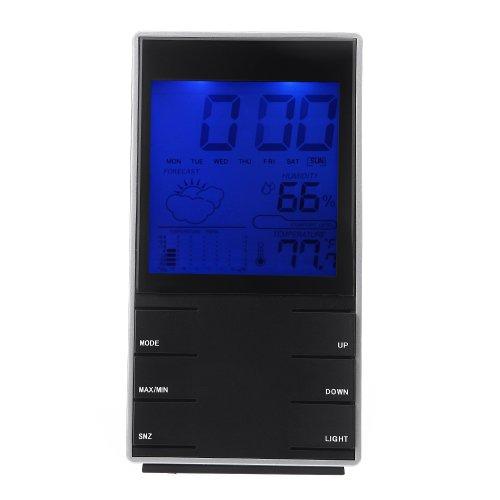 douself LCD interno Digitale umidità Temperatura calendario sveglia Meteo Previsioni Stazione con orologio retroilluminazione nero