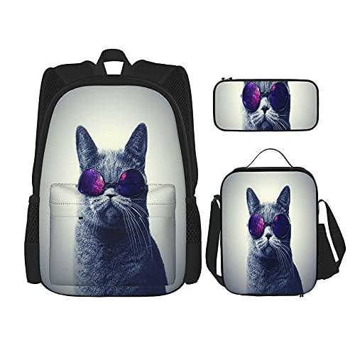 Divertente gatto con occhiali zaino scolastico 3 pezzi per ragazzi e ragazze (borsa per la scuola + astuccio + borsa per il pranzo combinazione)