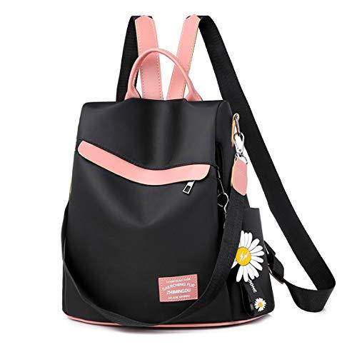 Youlity Women Daypack Backpack Anti Theft Travel Rucksack Lightweight Stylish School Shoulder Bag Waterproof Ladies Purse Fashion Handbag Tote bag Girls Gift (Black)