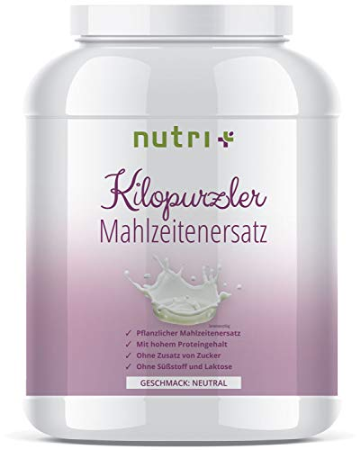 Mahlzeitenersatz Vegan - Neutral - 20 Shakes - 1kg Pulver - Pflanzlicher Diät Shake - Aktivkost ohne Süßstoff & Laktose - Kilopurzler Diätpulver zum Abnehmen - Made in Germany
