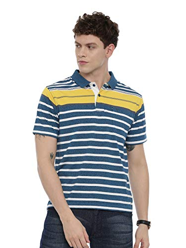 SWISS CLUB Mens Striped Slim Fit Collared Neck T-Shirt (STAG - 180 A AF P-XL)