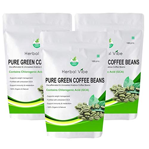 Herbal Vibe Pure Green Coffee Beans Decaffinated & Unroasted Beans for Weight Loss Management (Pack of 3)