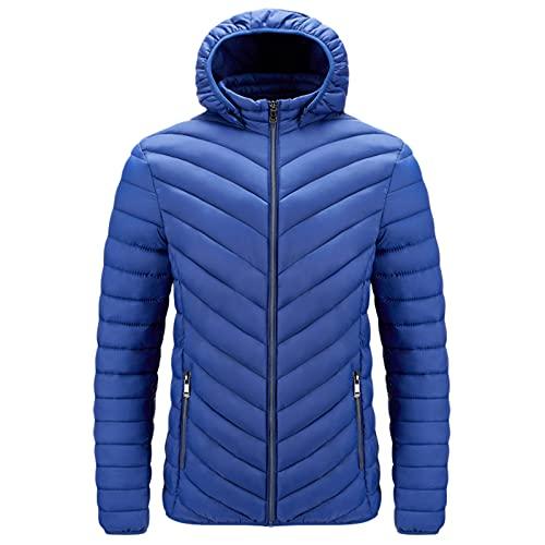 URIBAKY - Cappotto da moto, per autunno e inverno, taglia grande, con tasca leggera, con zip, in cotone, per attività all'aria aperta, blu, XL