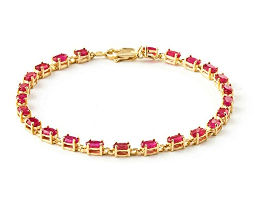 Galaxy Gold 14k Solid Yellow Gold Tennis Bracelet 8 ct (CTW) Red Ruby -3556Y (7)