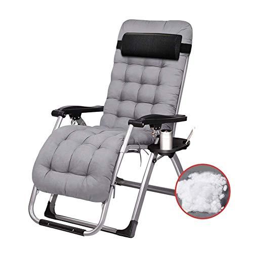 Terrassenstühle mit Kissen für schwere Menschen, extra breite Strandliege Camping tragbare Stuhlstütze 440lbs (Farbe: Grau)