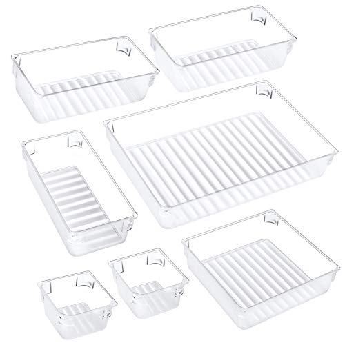 Puroma 7-pcs Desk Drawer Organizer Trays, 4 Different Sizes Large Capacity Plastic Bins Kitchen Drawer Organizers Bathroom Drawer Dividers for Makeup, Kitchen Utensils, Jewelries and Gadgets