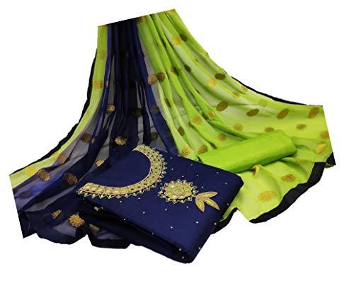 Blue Wish Women's Ethnic Wear Cotton Work Salwar Suit Dress Material With Full Work Dupatta (Unstitched)