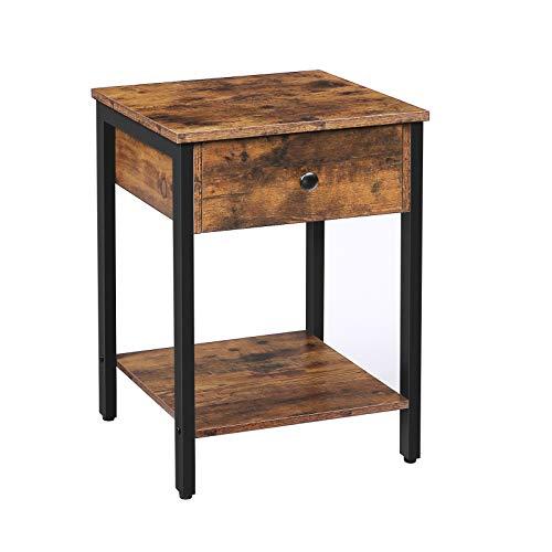 HOOBRO Nachttisch, Beistelltisch, Nachtschrank mit Schubladen und Ablage, Nachtkommode Tisch im Industrie-Design, Schlafzimmer, Wohnzimmer, einfacher Aufbau, Dunkelbraun EBF40BZ01