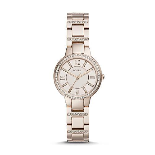 Fossil Virginia Damen-Armbanduhr DREI Zeiger-Pastellrosa Edelstahl ES4482