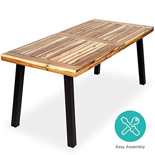 Best Choice Products 6-Person Indoor Outdoor Patio Rustic Acacia Wood Picnic Dining Table w/Metal Finish Legs