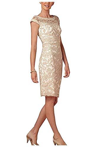 La_Marie Braut Knielang Kurz Elegant Abendkleider Brautmutterkleider Etuikleider Damen Festliche Kleider mit Spitze-46 Champagner