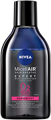NIVEA MicellAIR SKIN BREATHE Expert Mizellenwasser Waterproof im 2er Pack (2 x 400 ml), Mizellen Reinigungswasser für wasserfestes Make-up, erhöhte Sauerstoff-Aufnahme der Haut durch Make-up Entferner