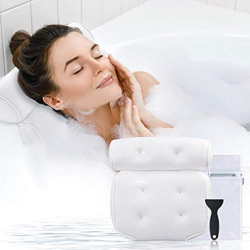 Bath Pillow for Tub, Gugusure Bathtub Pillows for Neck, Shoulder and Head Support, Upgraded 3D Air Mesh Spa Bath pillows with 6 Suction Cups for All Bathtub, Quick-Drying, Comfortable and Breathable