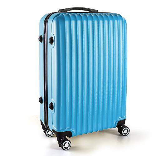 LIZHAIMING Ligera Maleta De Tapa Dura De Equipaje, Bolso De La Carretilla De Transporte De Viaje, De Lados Duros De Lona Plegable Negro Expansibles (20 Pulgadas (52Cm 38L)),Azul