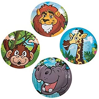 Dessert Plate Disposable Paper Party Plates 7 inch Diameter - 24 Count (Zoo)
