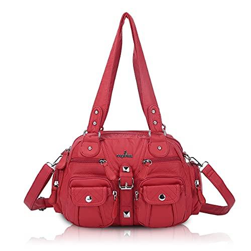 Angel Kiss Damen Handtasche tasche damen groß Umhängetasche 2 hauptfächer Multifunktionale Rucksack Weiches PU Leder mit Reißver Schlusstaschen Elegante Damenumhängetasche für Büro Schule Einkauf Rot