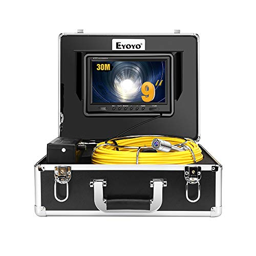 Eyoyo 100ft Pipe Inspection Camera with 9 Inch LCD Monitor, 30M Drain Sewer Camera Industrial Endoscope Video Plumbing System 1000TVL DVR Recorder Pipeline Snake Cam with 8GB SD Card